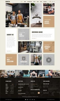 Buy Barista - Modern Theme for Cafes, Coffee Shops and Bars by Edge-Themes on ThemeForest. Theme Features Easy-to-Use Powerful Admin Interface One-click import of demo site 8 Homepage Examples Collection of . Wireframe Design, Footer Design, Website Menu Design, Website Layout, Website Ideas, Coffee Shop Website, Coffee Cafe Interior, Food Web Design, App Design