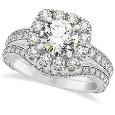 Allurez Square Diamond Halo Engagement Ring & Wedding Band 14k W. Gold... (€5.310) ❤ liked on Polyvore featuring jewelry, rings, accessories, wedding, white gold, gold wedding rings, halo diamond ring, 14k yellow gold ring, wedding rings and halo diamond engagement rings