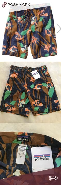 Patagonia men's wavefarer Board Shorts NWT. Nice print. These are 30 inches which fits a size small. Patagonia Swim Swim Trunks