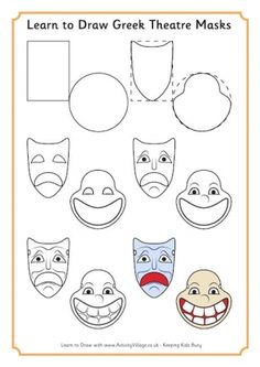 3 greek mask templates teaching masks and mask for Ancient greek mask template