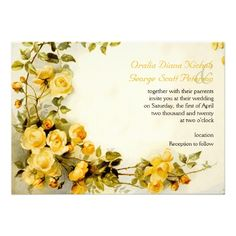 Vintage romantic painting of yellow roses wedding invitation. #roses, #weddinginvitations, #romantic, #vintage, #floral, #yellow  See more designs http://www.zazzle.com/weddings_?rf=238228936251904937=zBookmarklet