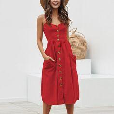 Button Women Dress Polka Dots Red Cotton Midi Dress Summer Casual Plus Size Lady Beach Vestidos Size S Color Color 19 Floral Beach Dresses, Boho Summer Dresses, Summer Dresses For Women, Sexy Dresses, Dress Summer, Midi Dresses, Casual Dresses, Spring Summer, Sleeveless Dresses