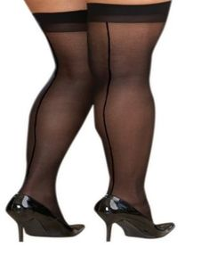 Dreamgirl Plus Size Sheer Thigh High With Back Seam - Tan/Beige Ankle High Socks, Ankle Highs, Thigh Highs, Stockings Heels, Fishnet Stockings, Black Stockings, Nylons, In Pantyhose, Big Legs