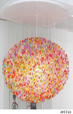 I'm completely obsessed with this gummy bear chandelier.  I definitely can't afford it, but maybe I can DIY?