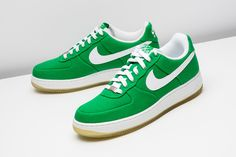 This Nike Air Force 1 features a Lucky Green colorway and a canvas upper.  http://www.stadiumgoods.com/air-force-1-premium-canvas-lucky-green-white-324760-311  #Nike