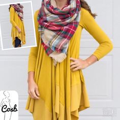 Buttercup Color Layered Asymmetrical Dress/ Top Cute Buttercup Color Layered Asymmetrical Long Top or Dress. This is new Spring color. Top has a v neck, long sleeves, & comes past hips. Top of top is cotton with chiffon asymmetrical  bottom. Sizes Small-Large. True to size. So Cute!!!! Cosb Tops