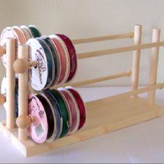 Scrapbook Ribbon Holder Storage Rack Organizer Holds 75 Spools via Etsy Ribbon Organization, Ribbon Storage, Sewing Room Organization, Craft Room Storage, Organizing Life, Paper Storage, Diy Ribbon, Ribbon Work, Craft Rooms