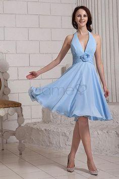 Strand Nackenträger Birne A Linie Chiffon knielanges einfaches Brautjungfernkleid