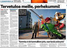 Mannerheimin Lastensuojeluliiton Uudenmaan piiri kampanjoi uusien perhekummien löytämiseksi. Juttu Länsiväylässä 21.10.2013. www.olettarkea.fi