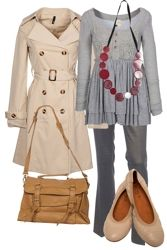 Great for a day running errands or having lunch with friends. Neutrals plus a colorful necklace.
