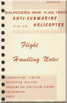 Saunders Roe Skeeter H. AS /194 D Helicopter Flight Notes Manual - Aircraft Reports - Manuals Aircraft Helicopter Engines Propellers Blueprints Publications