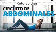 Prueba este reto abdominales de 30 días para conseguir un vientre plano. Circuito de 3 ejercicios de abdominales. Retos fitness de 30 días. Infografía.