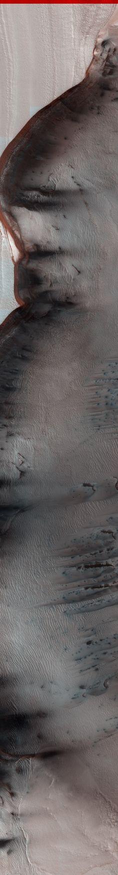 NASA/JPL/University of Arizona MARS North Polar Scarp in Abalos Undae with Basal Exposure and Dunes