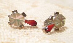 Sterling Silver Turtle Mother of Pearl Stud by ViksVintageJewelry