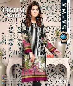 Safwa Brand Digital Kurties Shirts ,Kameez , 2 Piece and 3 Piece Suits Dresses Online Shopping Pakistan Kurti Collection, 3 Piece Suits, Online Dress Shopping, Pakistani Dresses, Textile Design, Dresses Online, Designer Dresses, Kimono Top, Textiles