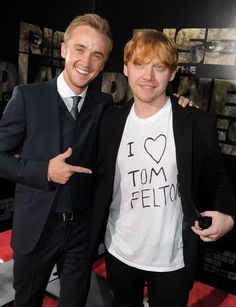 Here's the thing. Ron Weasley was probably my first crush. I always thought he was hot. But in real life, Rupert Grint is not so attractive. But I had a crush on Malfoy in the 6th movie when he cried because I just find that attractive. So I looked up the actor and boy is Tom Felton hot in real life!