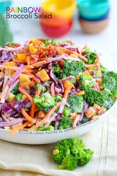 Rainbow Broccoli Salad is loaded with flavor and color! This is the perfect potluck salad or side for any barbecue with a colorful helping of veggies, a quick easy homemade dressing and a sprinkle of bacon and cheddar! Potluck Salad, Potluck Dishes, Potluck Recipes, Salad Recipes, Vegetarian Recipes, Cooking Recipes, Healthy Recipes, Dinner Recipes, Ham Salad