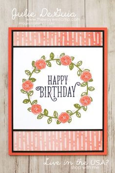 Global Design Project 089 Color Challenge using Happy Birthday Gorgeous by Stampin' UP! | Basic Black | Old Olive | Calypso Coral | handmade cards | The Way We Stamp | Julie DeGuia | Stampin' Up! 2017-2018 Annual Catalog | DIY crafts
