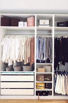 Perfect Wardrobe Closet Organization Ikea Pax Ideas For 2019 Organizing Walk In Closet, Best Closet Organization, Wardrobe Organisation, Organization Ideas, Organizing Tips, Bedroom Organization, Dresser Drawer Organization, Wardrobe Closet, Closet Bedroom