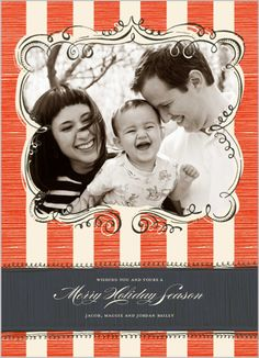 Retro Stripe Frame Christmas Card