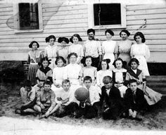 Portrait of students at a Hawthorne school house