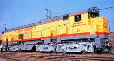 The ALCO Century 855 was ALCO's most powerful diesel-electric locomotive and, at the time, the most powerful diesel locomotive ever built. Union Pacific Train, Union Pacific Railroad, Electric Locomotive, Diesel Locomotive, Steam Turbine, Railroad Pictures, Bonde, Railroad Photography, Rail Car