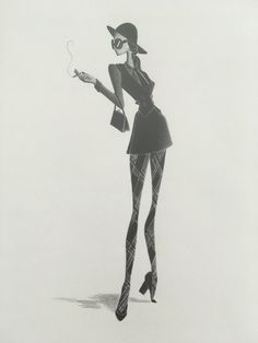 mod fashion illustration / beatnik art / fashion by LinearFashions