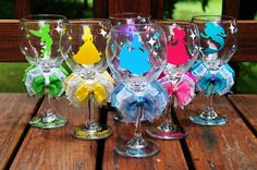Disney Princess Wine Glass Set of 6 Bride Bridesmaid Maid of Honor Wine Glasses - Belle Cinderella Aurora Ariel Tinkerbell Pocahontas
