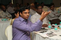 One of the participants interacting with the speakers
