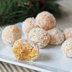 Coconut apricot balls are a no-bake dessert made with four ingredients—dried apricots, shredded coconut, walnuts and sweetened condensed milk. No Bake Desserts, Dessert Recipes, A Food, Food And Drink, Apricot Recipes, Coconut Balls, Balls Recipe, Tasty Dishes, Cookies Et Biscuits