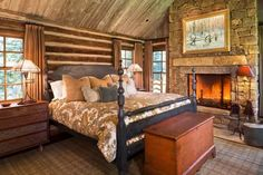 Log Post Bed Frame Log Cabin Decorating Bedroom Rustic With Stone Fireplace...
