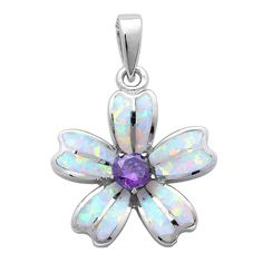 Lab Created White Opal & Simulated Amethyst Flower .925 Sterling Silver Pendant: Clothing