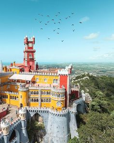 - Magical view of Pena Palace Great picture by Tag your best photos of Sintra Portugal, Visit Portugal, Portugal Travel, Spain And Portugal, Portugal Trip, Portugal Destinations, Places To Travel, Places To See, Pena Palace