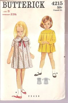 Butterick 4215 girls DRESS pleats, Peter Pan collar, long or short sleeves, size 5 chest 23 vintage sewing pattern Vintage Girls Dresses, Little Girl Dresses, Vintage Outfits, Vintage Fashion, Dress Vintage, Little Girl Dress Patterns, Vintage Apron, Vintage Dress Patterns, Sewing Patterns For Kids
