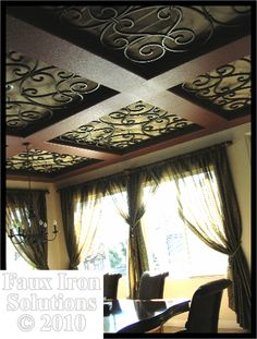 Faux Iron coffered ceiling - how cool would this be on a porch or sunroom? Would make a great greenhouse ceiling with glass. Ceiling Medallions, Coffered Ceiling, Ceiling Decor, Ceiling Treatments, Ceiling Design, Wrought Iron Decor, Home Decor, Iron Decor, Faux Iron