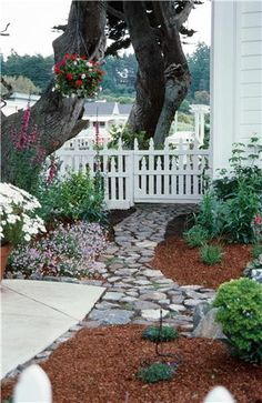 walkway + picket fence.