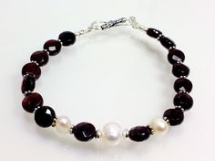 Garnet and Freshwater Pearl Bracelet with Sterling Silver, January Birthstone, $54