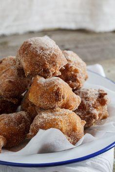 Apple Fritters with spiced sugar #recipe #dessert #doughnuts