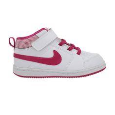 Παιδικό μποτάκι NIKE, άσπρο με ροζ λεπτομέρειες. Με μαλακό ανατομικό πάτο , για σταθερά βήματα. Με αυτοκόλλητα, για εύκολο φόρεμα.