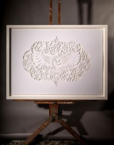 LACE OWL IN THE CUT | Hand Cut: $2500 1000mm x 700mm Open Edition White Box Frame, Float Mount $400 | Flox.co.nz