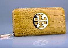 Yellow Snake Skin Tory Burch Zip-Up Wallet