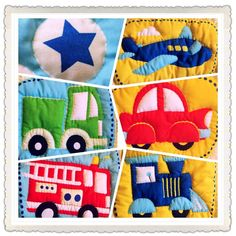 Trucks Trains & Planes Baby Quilt by RaggedyKnits on Etsy, $75.00
