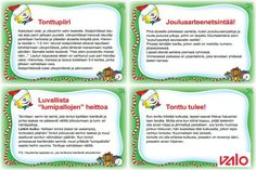 Tonttuillaan luonnossa, Osutko tontun töppöseen vai tuliko vastaan Kävelevät joulukortit? Liikunnallinen joulukalenteri tarjoaa paljon hyviä... Christmas Calendar, Kids Christmas, Christmas Cards, Xmas, Pe Lessons, School Themes, Winter Wonder, Christmas Activities, Creative Kids