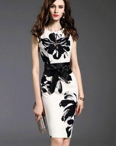White Floral Print Bodycon Sheath Dress