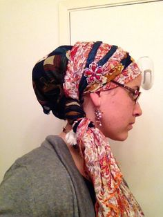 Red target rectangular scarf, navy square underscarf, braided headband & Wrapunzel pin!
