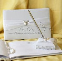 Butterfly Story Wedding Guest Book and Pen Set