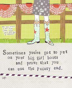 Big Girl Boots Card - Curly Girl Design Card