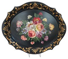 Floral Hand-Painted Tole Tray