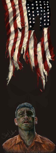 Frank Castle/Punisher cool fan art beneath a torn American flag Marvel Art, Marvel Comics, Fan Art, Daredevil Punisher, Punisher Comics, Frank Castle Punisher, Dc Anime, Comics Universe, Silver Surfer