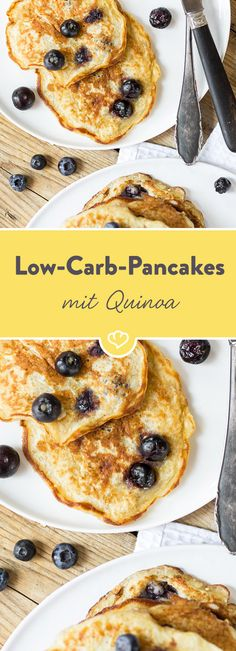 And suddenly quinoa is everywhere. Delicious with blueberries, lime and Greek yogurt in pancake. And especially low carb. And suddenly quinoa is everywhere. Delicious with blueberries, lime and Greek yogurt in pancake. And especially low carb. Quinoa Pancakes, Low Carb Pancakes, Low Carb Breakfast, Paleo Dessert, Dessert Recipes, Low Carb Desserts, Low Carb Recipes, Superfood, Clean Recipes